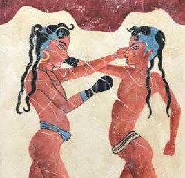 Minoan Boy Boxers fresco tile (large)