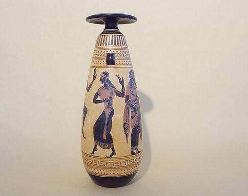 black-figure alabastron : worship of Dionysos