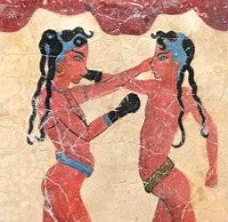 Minoan Boy Boxers fresco tile (small)