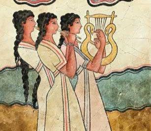 Minoan Procession Fresco - female musicians (large)