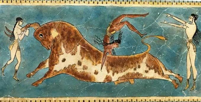 Minoan bull-leaping fresco tile (medium)