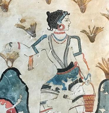 Minoan fresco tile: saffron gatherer (1)
