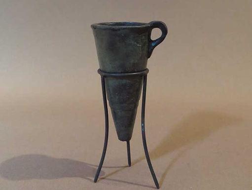mini bronze rhyton in stand