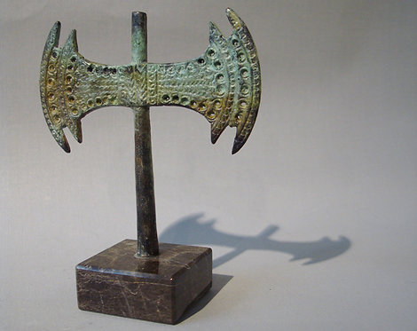 small bronze twin-leaved labrys double-axe