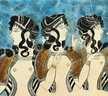 Minoan Ladies in Blue fresco tile