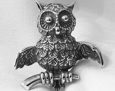 owl on perch brooch