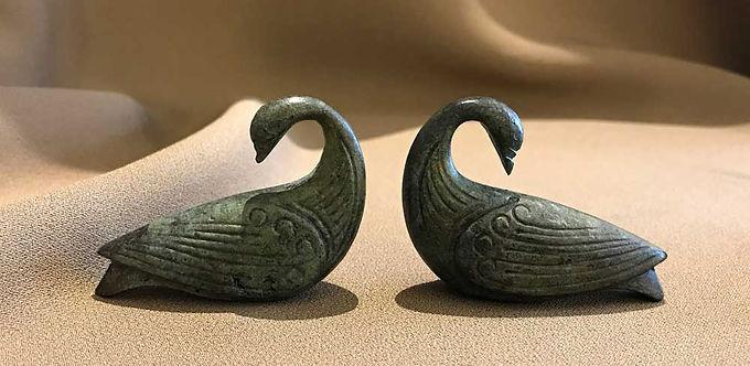 pair of mini bronze doves