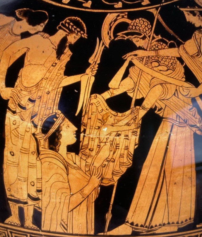 Gaia rising from her element. A detail from a red-figure hydria in the British Museum.