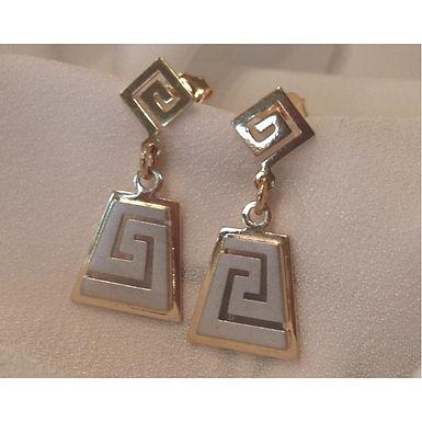 Greek key design trapezoid earrings (END OF LINE)