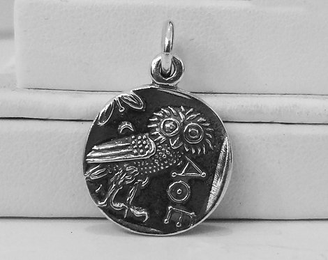 owl and Athena coin pendant (mini)