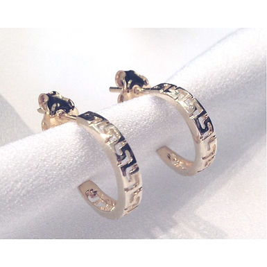 Greek key design small hoop earrings