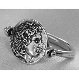 Alexander the Great and Athena rotating coin ring
