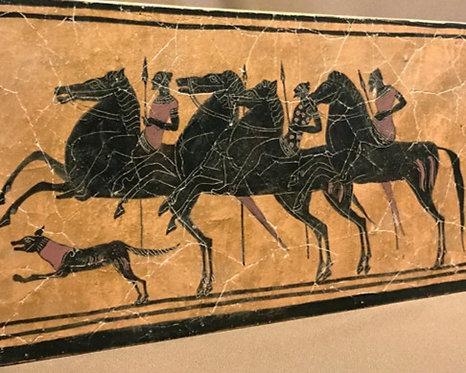 black-figure ceramic tile - three riders