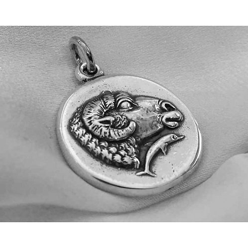 ram and dolphin coin pendant