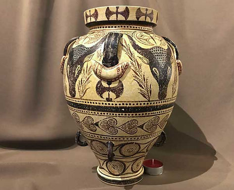 Minoan pithos with bull heads and double-axes