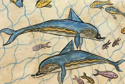 Minoan dolphins fresco tile