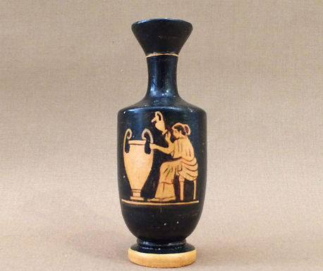 mini red-figure lekythos: lady vase-painter