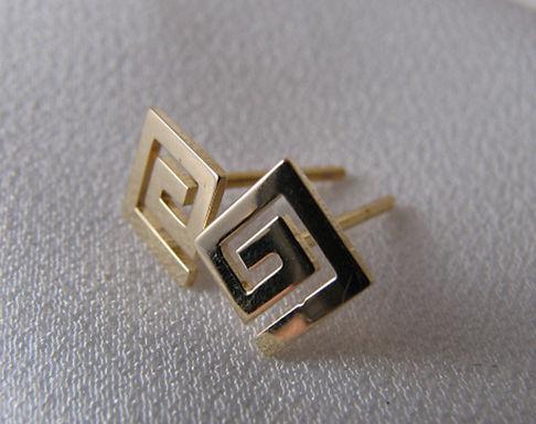 Greek key design studs