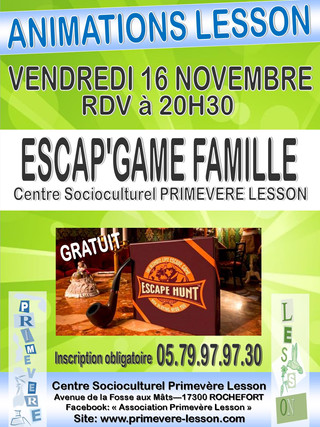 affiche ESCAPGAME FAMILLE animations les