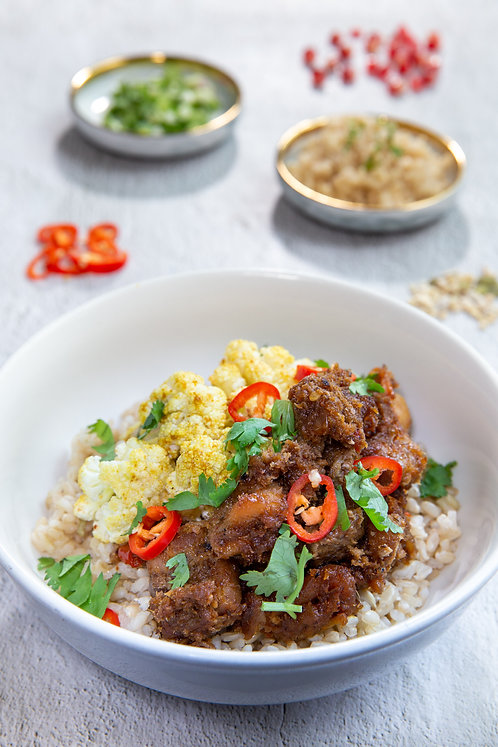 Rendang Chicken with Brown Rice (477 kcal)