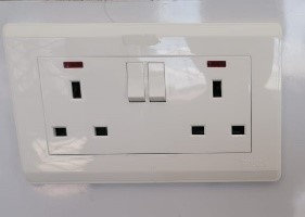 2 Gang 13A Socket (Hager – Square pin)