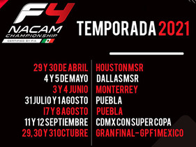 FIA F4 NACAM Championship, anuncia su calendario 2021