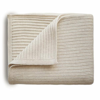 Knitted Ribbed Baby Blanket - Beige