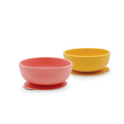 Suction Bowl Set - Mimosa/Coral
