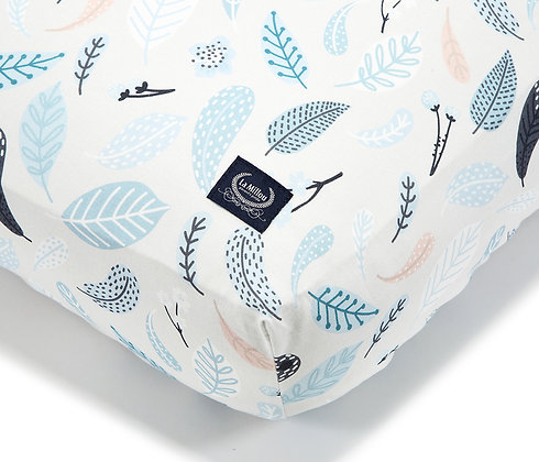 Fitted Sheet Blue Leaves