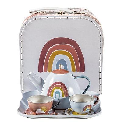 Tea Set in Basket Rainbow