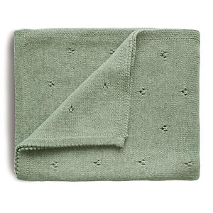 Knitted Pointelle Baby Blanket - Sage