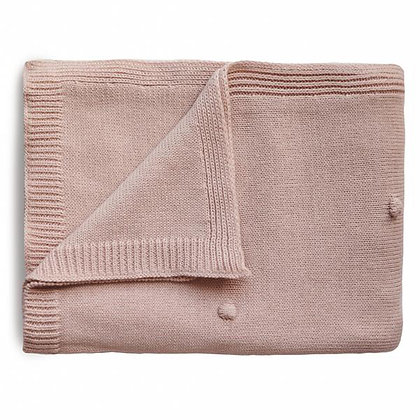 Knitted Textured Dots Baby Blanket - Blush
