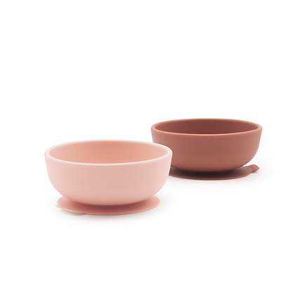 Suction Bowl Set - Blush/Terracotta
