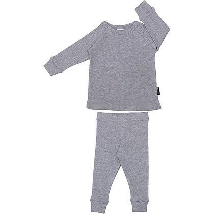 Ribbed Lounge Set - Melange Grey