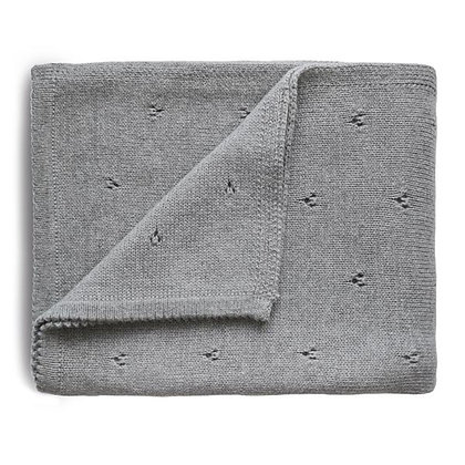 Knitted Pointelle Baby Blanket - Grey