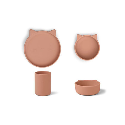 Cyrus Silicone Tableware 3 pack - Cat Dark Rose