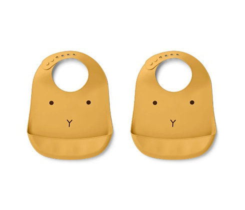 Tilda Silicone Bib 2 Pack - Yellow