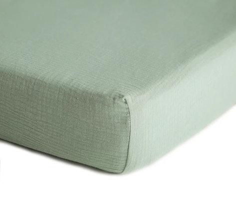 Muslin Crib Sheet - Roman Green