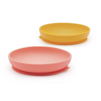 Suction Plate Set - Mimosa/Coral