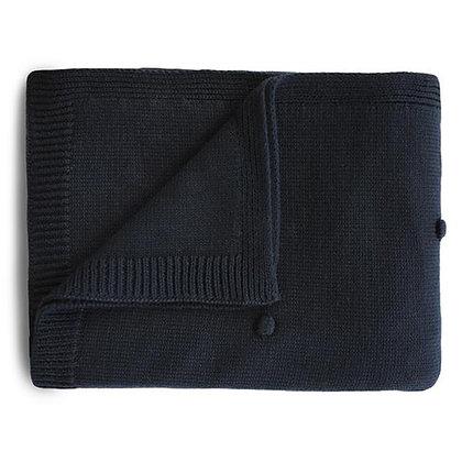 Knitted Textured Dots Baby Blanket - Dark Navy