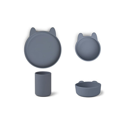 Cyrus Silicone Tableware 3 pack - Rabbit Blue Wave