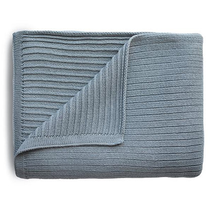 Knitted Ribbed Baby Blanket - Smoke