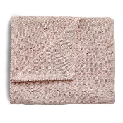 Knitted Pointelle Baby Blanket - Blush