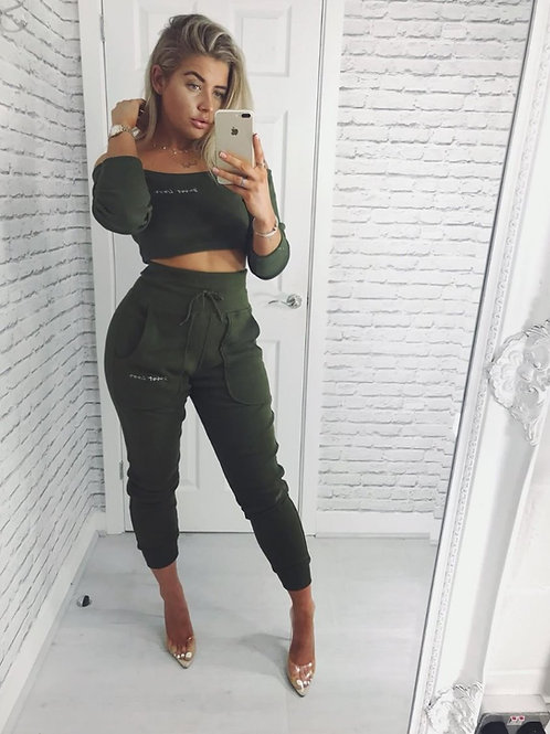 OFF SHOULDER LUXE SET KHAKI