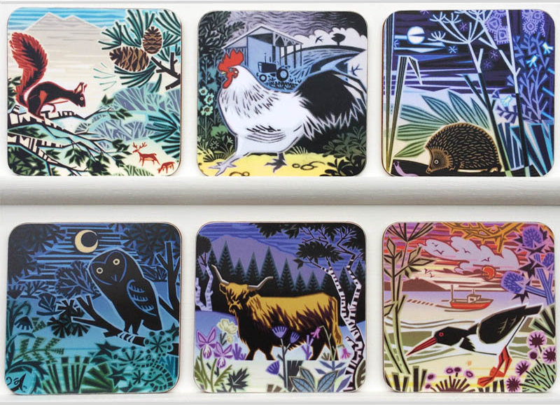 mat & coaster designs:- Fat stag/storm coming/midnight feast/worried mouse/hairy cow and beachcomber.