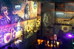 - Scary Fest - Analoge 360° Raumprojektion - Alte Technik / Ottakringer Brauerei.   Konzept, Produktion und ProjektionsTechnik -  MODULUX (Implementierung/Johannes Menneweger bei Lichttapete)  Kunde: Hörsaal Advertainment GmbH