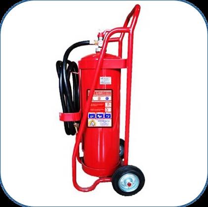 Carro Extintor PQS 25 Kg al 90% F.M.