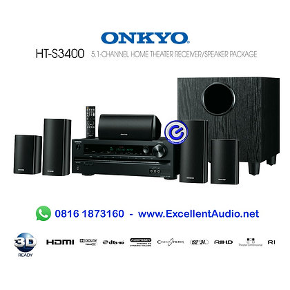Paket lengkap Onkyo HT-S3400 5.1 channel home theatre system