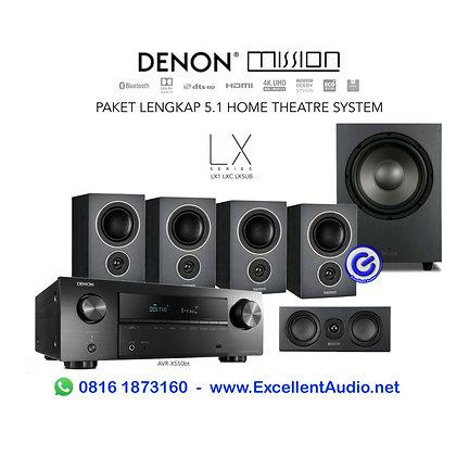 Paket lengkap Denon AVRX550 AVR X550bt Mission LX1 home theatre system