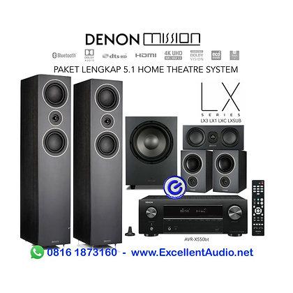 Paket lengkap Denon AVR X550bt X550 Mission LX3 LX1 LXC LX10 Home system